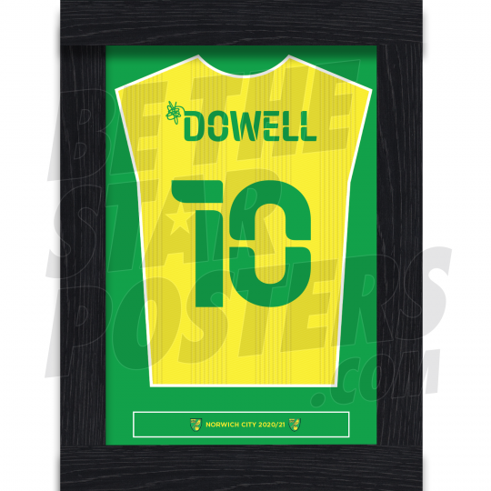 Dowell Norwich City Framed Shirt Poster A4 20/21