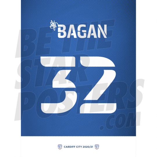 Bagan Cardiff City Shirt Poster A4 20/21