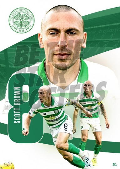 Celtic FC A3 Scott Brown Poster 2019/20