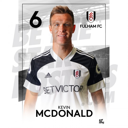 Kevin McDonald Fulham FC Headshot Poster A3 20/21