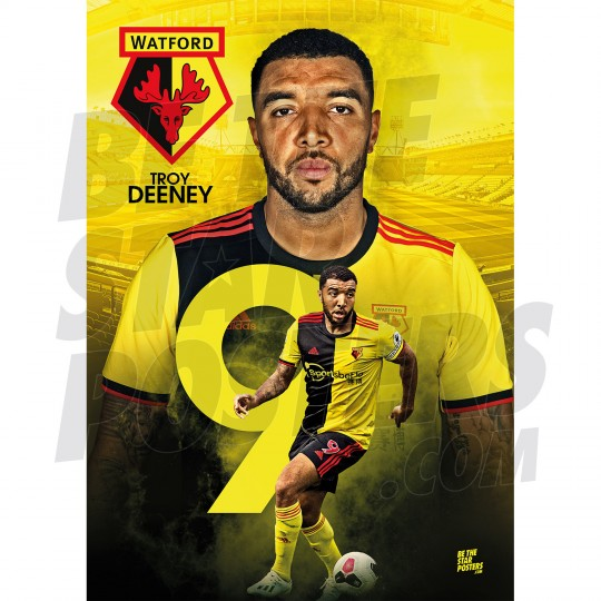 Deeney Watford A3 FC 19/20 Action Poster