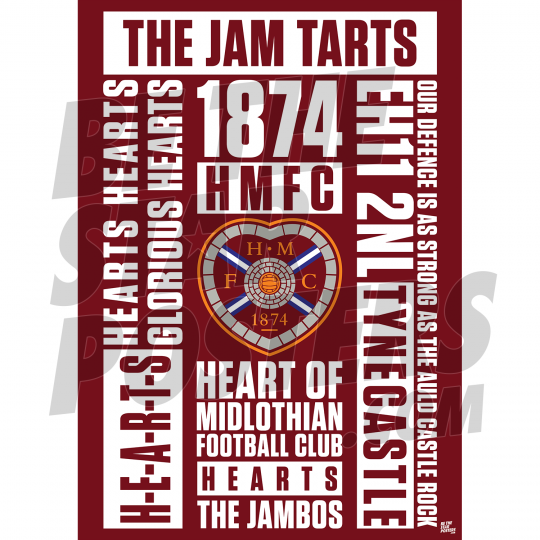 Hearts FC Word A3 Poster 19/20