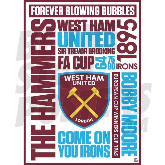 West Ham United FC A3 Word Poster