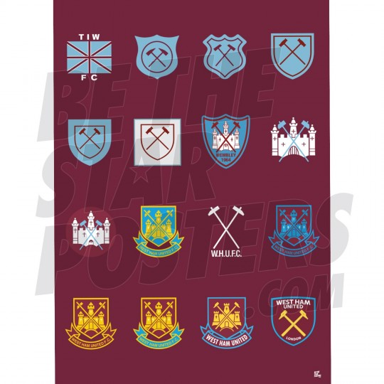 West Ham Utd FC History Of Crest Poster A2/A3