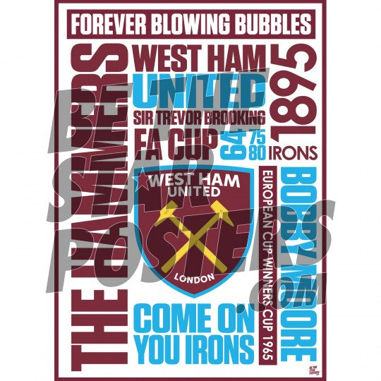 West Ham United FC A2 Word Poster