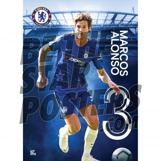 Chelsea FC A3 Alonso 18/19 Player Poster