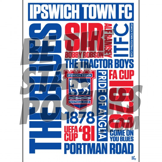 Ipswich Town FC A3 Word Poster