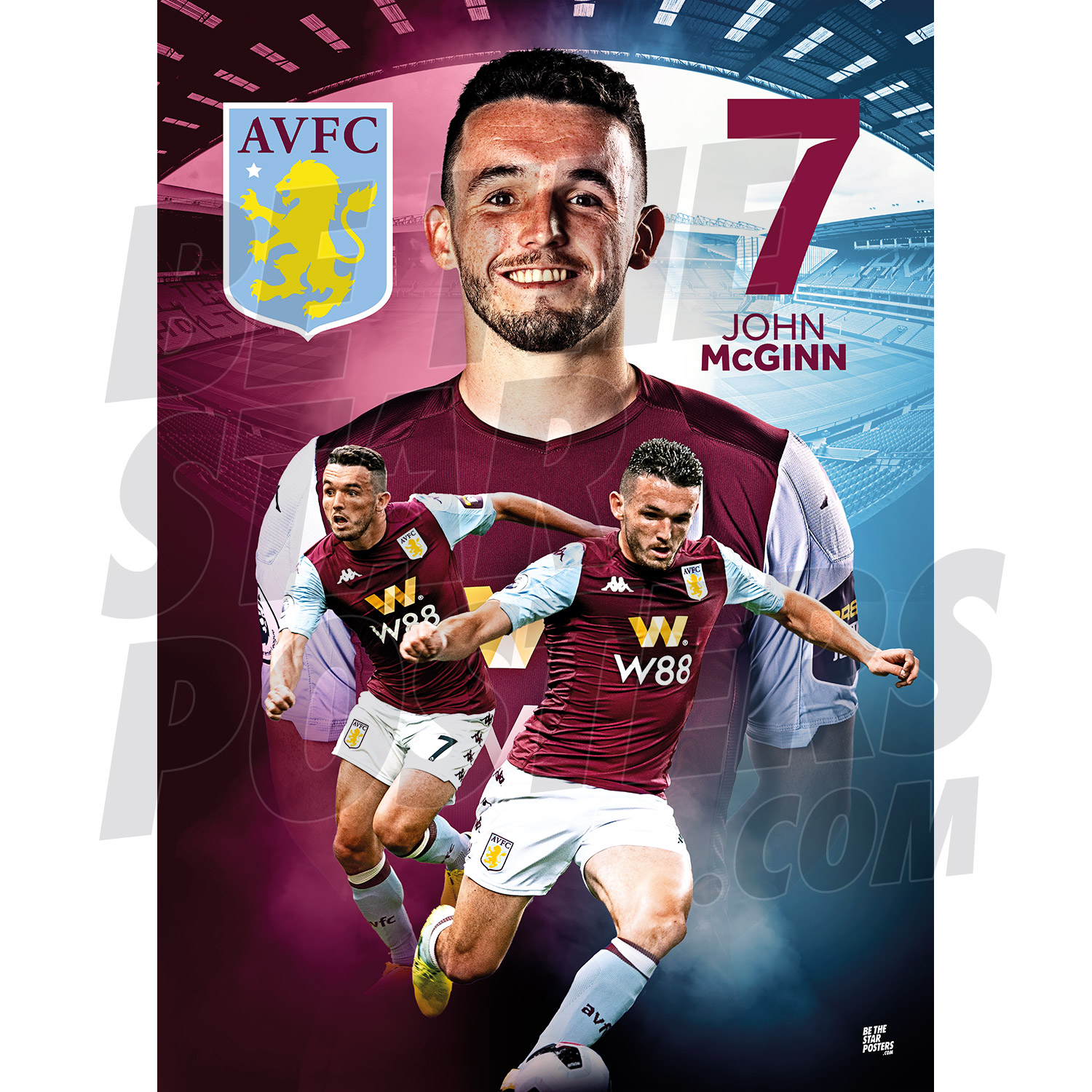 A2 Official Licensed Product Be The Star Posters Aston Villa FC Crest Poster Available in Sizes A3 /& A2