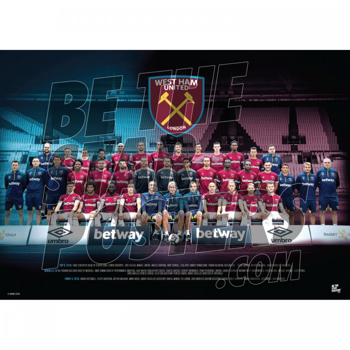 West Ham United FC A3 18/19 Squad Poster