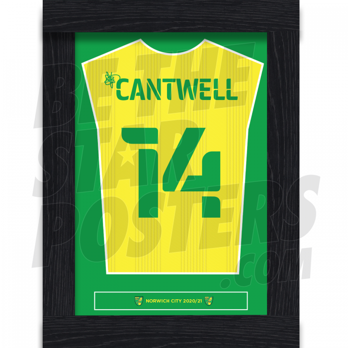Cantwell Norwich City Framed Shirt Poster A4 20/21