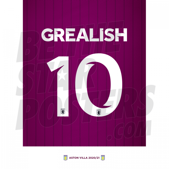 Grealish Aston Villa Shirt Poster A4 20/21