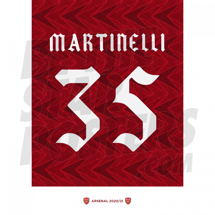 Martinelli Arsenal FC Shirt Poster A4 20/21