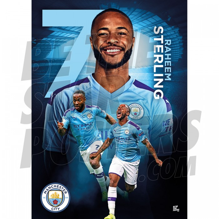 Raheem Sterling A3 Man City FC 19/20 Action Poster