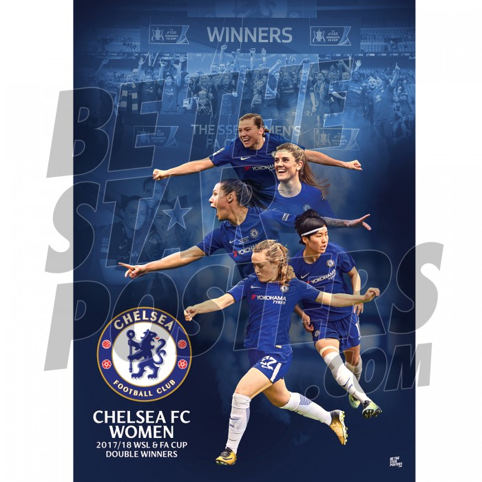 Chelsea FC A3 Womens Team Dbl Winners 2018