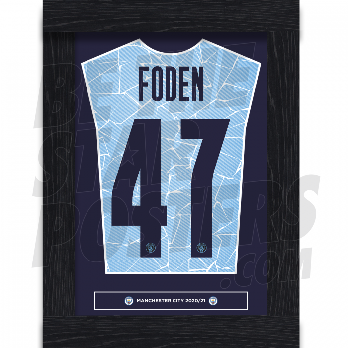 Foden Man City 20/21 Framed Shirt Poster A4