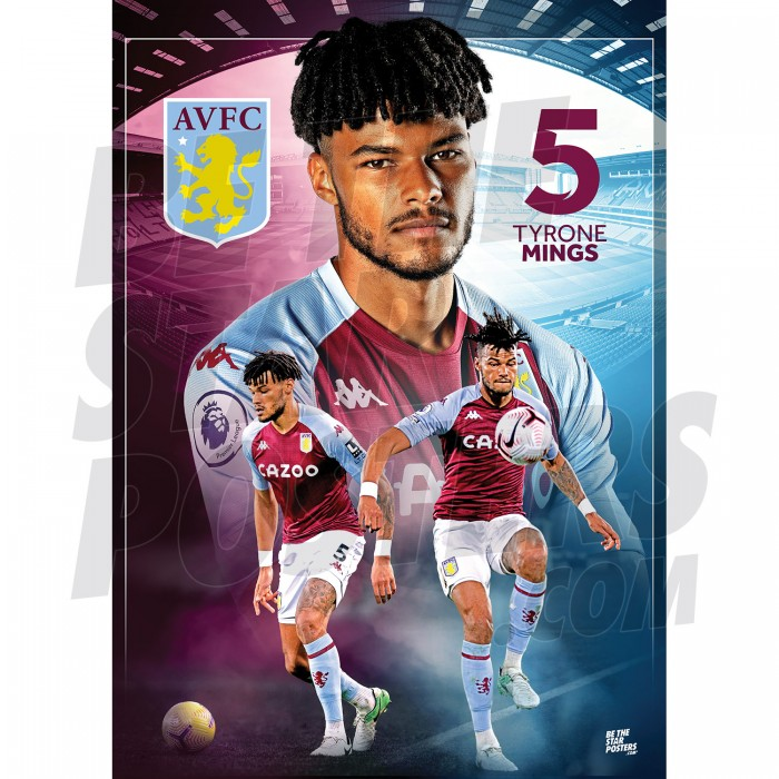 Tyrone Mings Aston Villa FC Action Poster 20/21